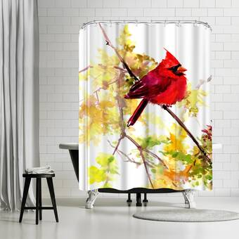 East Urban Home Suren Nersisyan Canary And Peach Single Shower Curtain Wayfair