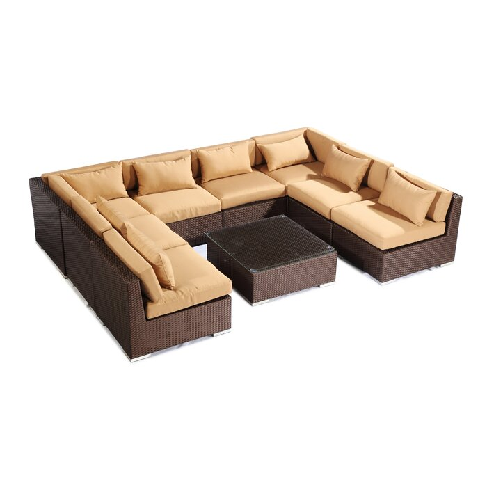 Awe Inspiring Oahu 9 Piece Sectional Set With Cushions Machost Co Dining Chair Design Ideas Machostcouk