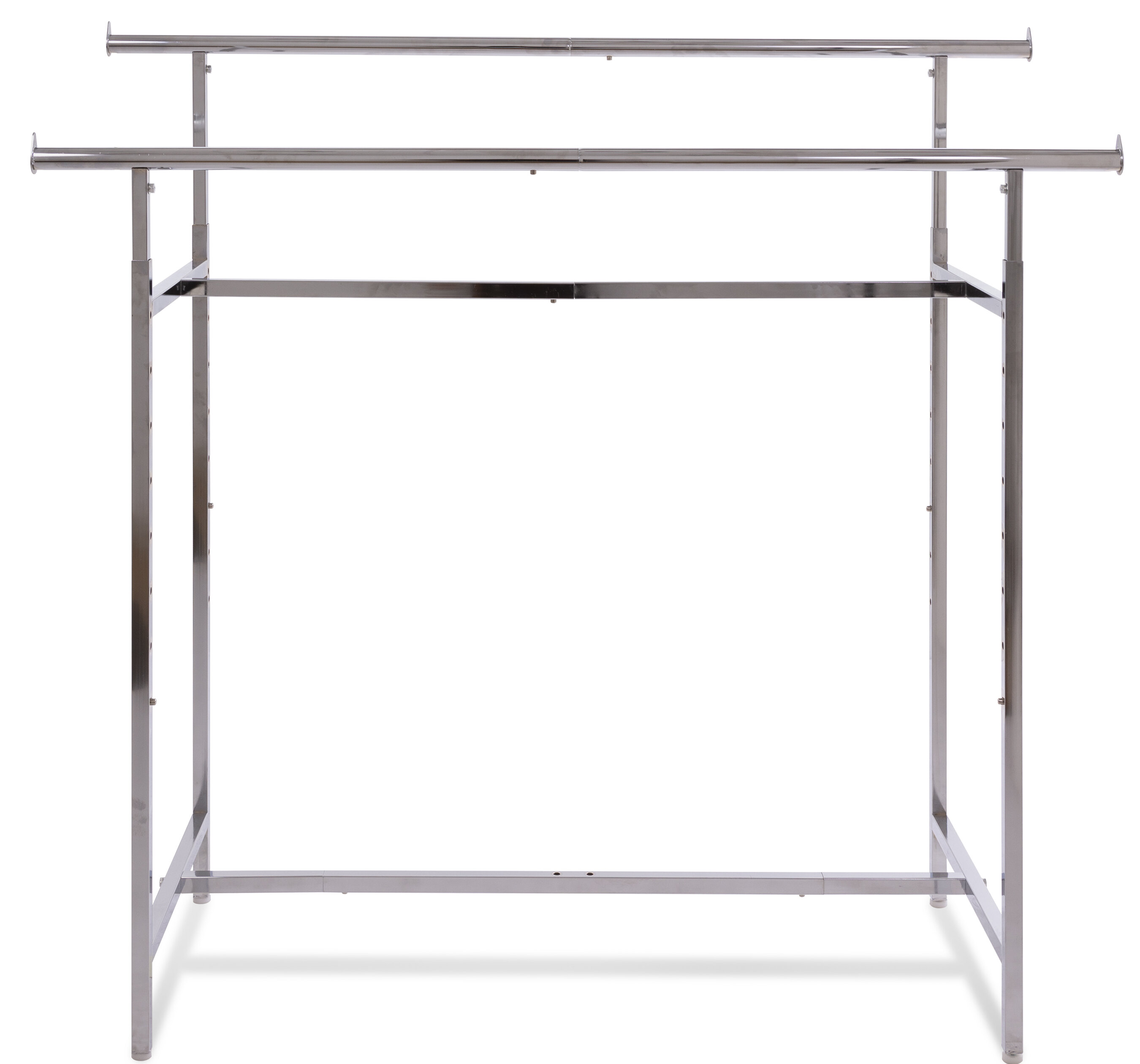 Rebrilliant Nathanial 60 W Adjustable Height Double Bar Clothing Rack Reviews Wayfair