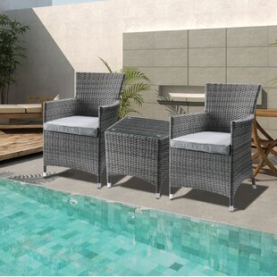 Mitsuwa 3 Piece Bistro Set with Cushions by Wrought Studio