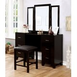 Harrelson Vanity Set with Stool and Mirror by Latitude Run