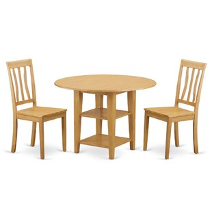 Tyshawn 3 Piece Drop Leaf Breakfast Nook Solid Wood Dining Set Herry Up