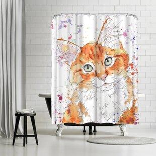 East Urban Home Allison Gray Orange Tabby Kitten Shower Curtain