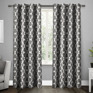 Britain Geometric Room Darkening Thermal Grommet Curtain Panels (Set of 2) by Willa Arlo Interiors