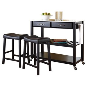 Kitchen Island Set with Stainless Steel Top by Crosley