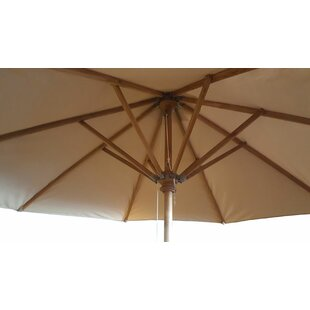 Rylee Natural Tone Teak Wood 8.5' Market Umbrella By Longshore Tides