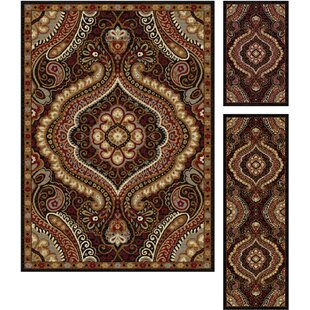 Reviews Hargrove 3 Piece Brown/Red Area Rug Set By Threadbind