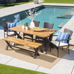 17 Stories Polizzi Outdoor 6 Piece Dining Set with Cushions
