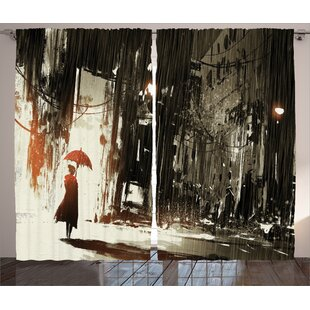 Woman With Umbrella Décor Graphic Print Room Darkening Rod Pocket Curtain Panels (Set of 2) by East Urban Home