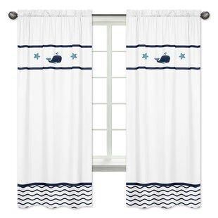 Whale Nautical Semi Opaque Rod Pocket Curtain Panels (Set Of 2)