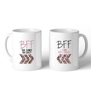 Cunnapakkam BFF Floral Crazy BFF 2 Piece Coffee Mug Set by Ebern Designs
