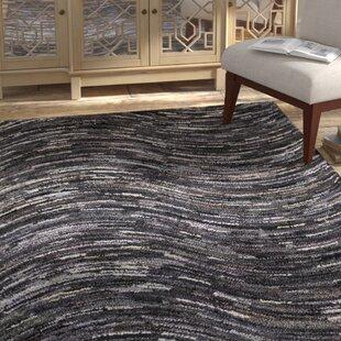 Affordable Sandford Wave Hand-Tufted Gray/Black Area Rug ByBungalow Rose