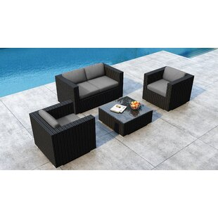 Glendale 4 Piece Sofa Set with Sunbrella Cushion by Everly Quinn