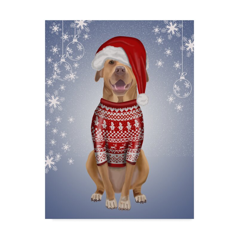 The Holiday Aisle \'Pitbull in Christmas Sweater\' Graphic Art Print ...