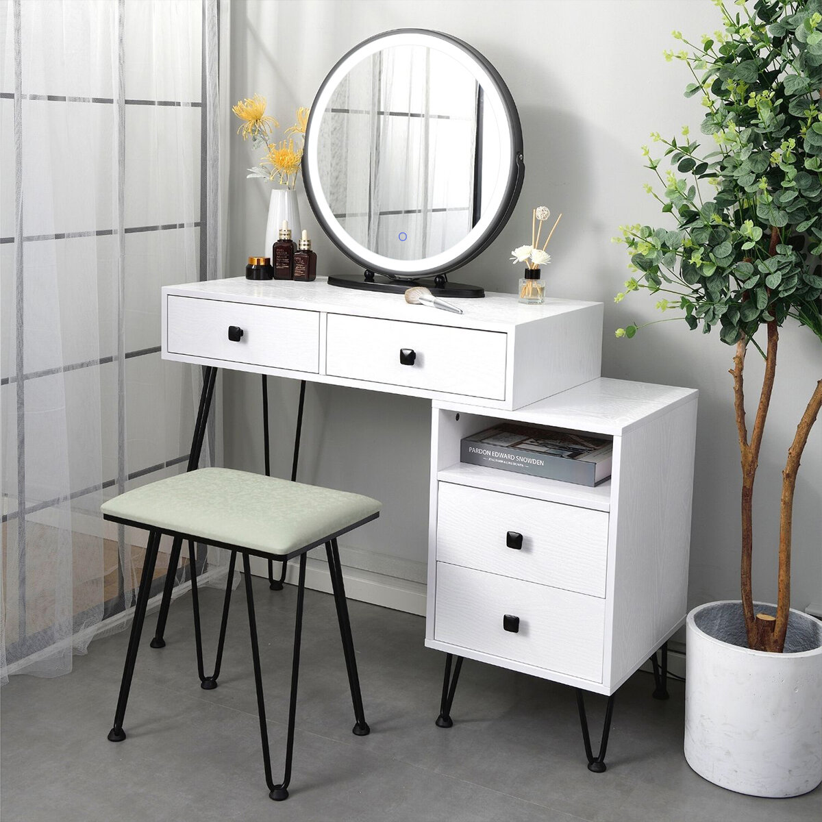 Corrigan Studio Miyamoto Solid Wood Vanity Set With Mirror Reviews Wayfair
