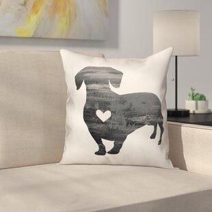 Nunlist Silhouette Dachshund Throw Pillow in , Throw Pillow