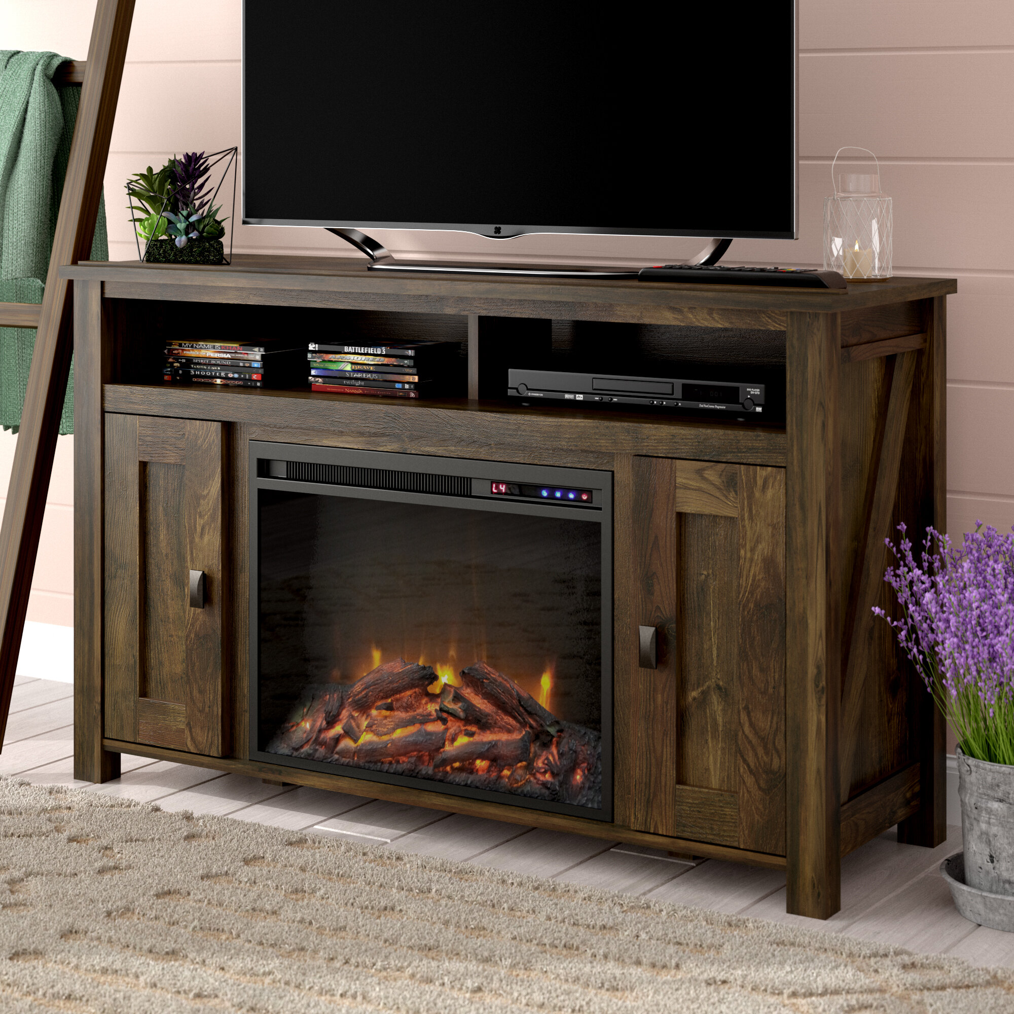 Mistana Whittier Tv Stand For Tvs Up To 50 With Electric Fireplace Included Reviews Wayfair