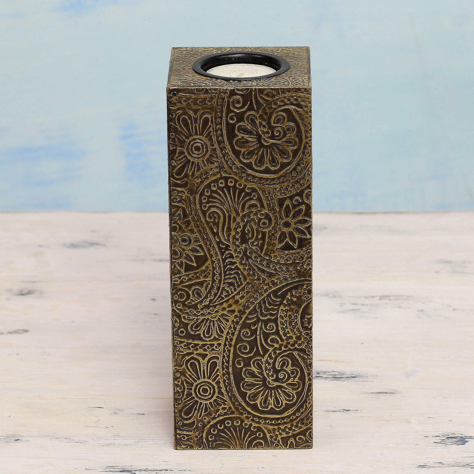 tealight candle holder made of metal paisley