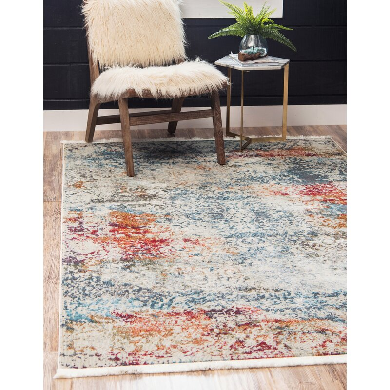 Lonerock Abstract Cream/Blue Area Rug