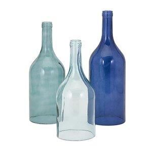 3 Piece Cloche Bottle Vase Set