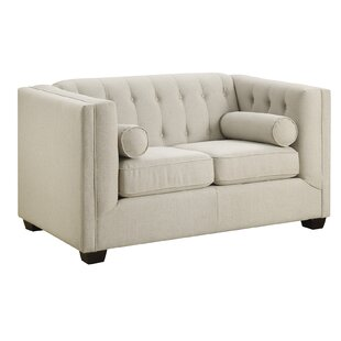 McDougal Chesterfield Solid Wood Loveseat