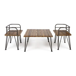 Hansell Outdoor Industrial 3 Piece 2 Person Seating Group