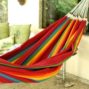 Double Person Fair Trade Striped Iracema Rainbow' Hand-Woven Brazilian Cotton Indoor And Outdoor Hammock