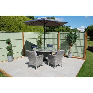 Bingham 4 Seater Dining Set With Cushions And Parasol By Freeport Park