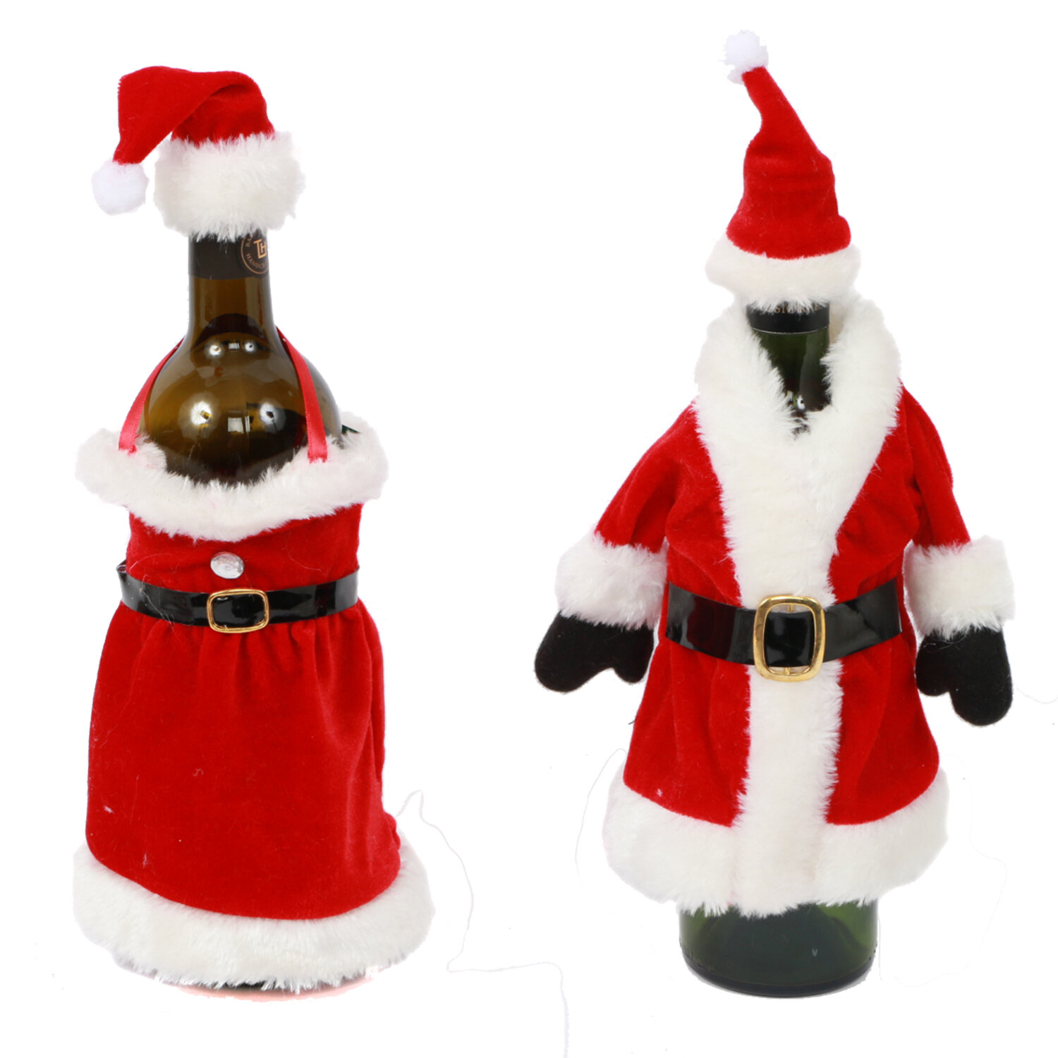 DEI 2 Piece Mr. and Mrs.Claus Bottle Topper Set | Wayfair