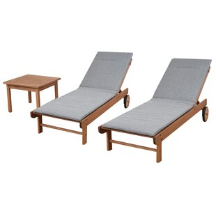 Brighton Gray Cushion Patio 3 Piece Single Reclining Chaise Lounge Set with Table