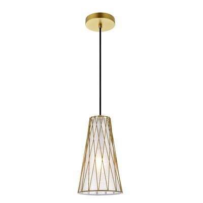1 Light Brooklawn 1 Light Black Pendant Wrought Studio Finish Brass
