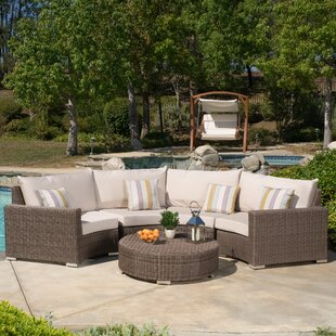 Purcell 5 Piece Rattan Sunbrella Sectional Set with Cushions by Rosecliff Heights