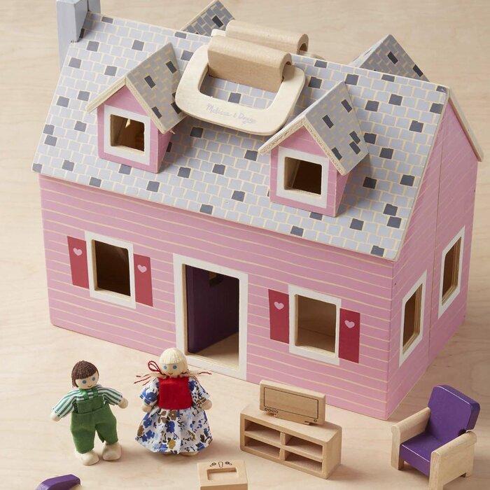 14 Piece Fold And Go Mini Dollhouse