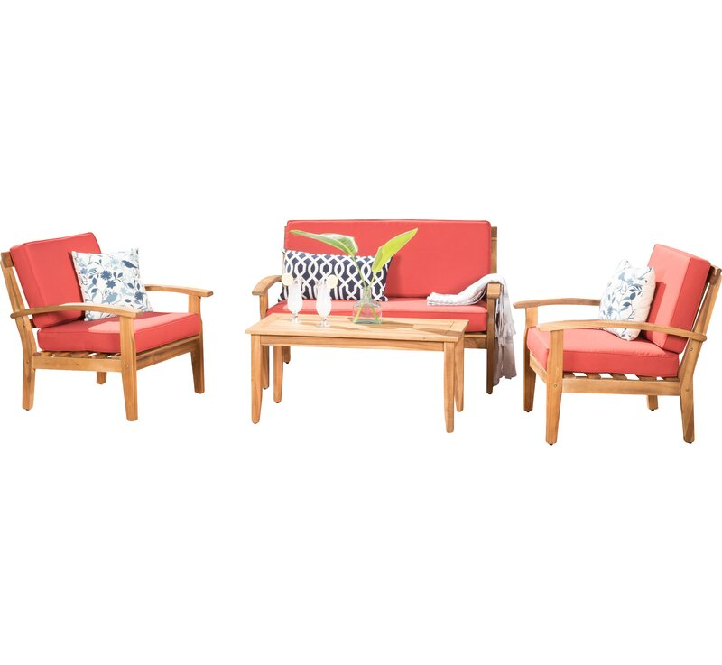 Juno 4 Piece Sofa Seating Group with Cushions & Reviews | AllModern