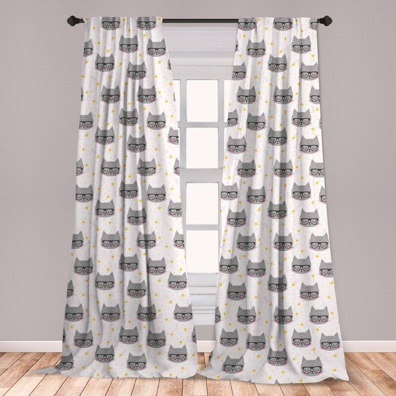 East Urban Home Cat Geometric Room Darkening Rod Pocket Curtain Panels Wayfair