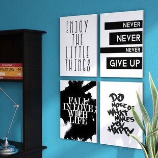 Inspirational Textual Art On Wood Set Of 4
