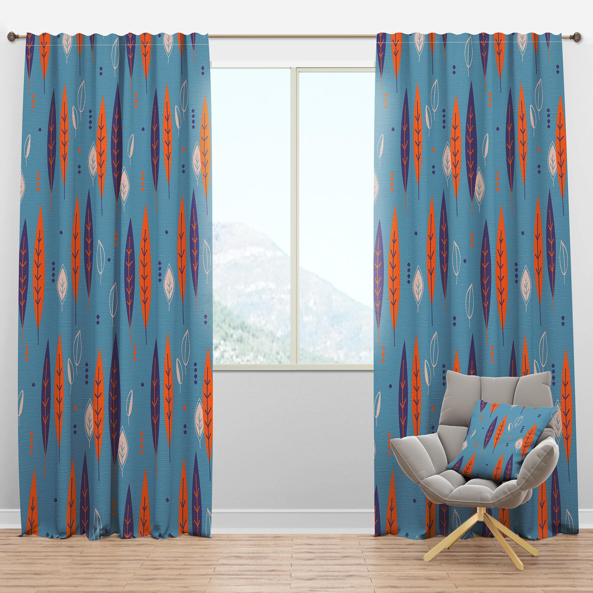 Designart Mid Century Botanical Ii Floral Semi Sheer Thermal Rod Pocket Curtain Panels Wayfair