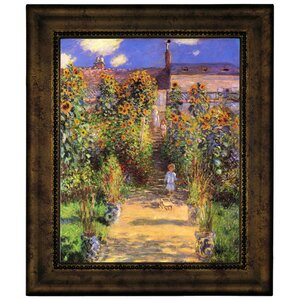 U0027Monets Garden In Vetheuilu0027 By Claude Monet Framed Graphic Art Print On  Canvas. U0027