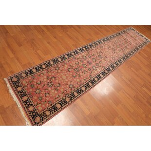 Read Reviews One-of-a-Kind Emestine Traditional Persian Hand-Knotted 2'6 x 11'10 Wool Rose/Black/Beige Area Rug By Isabelline