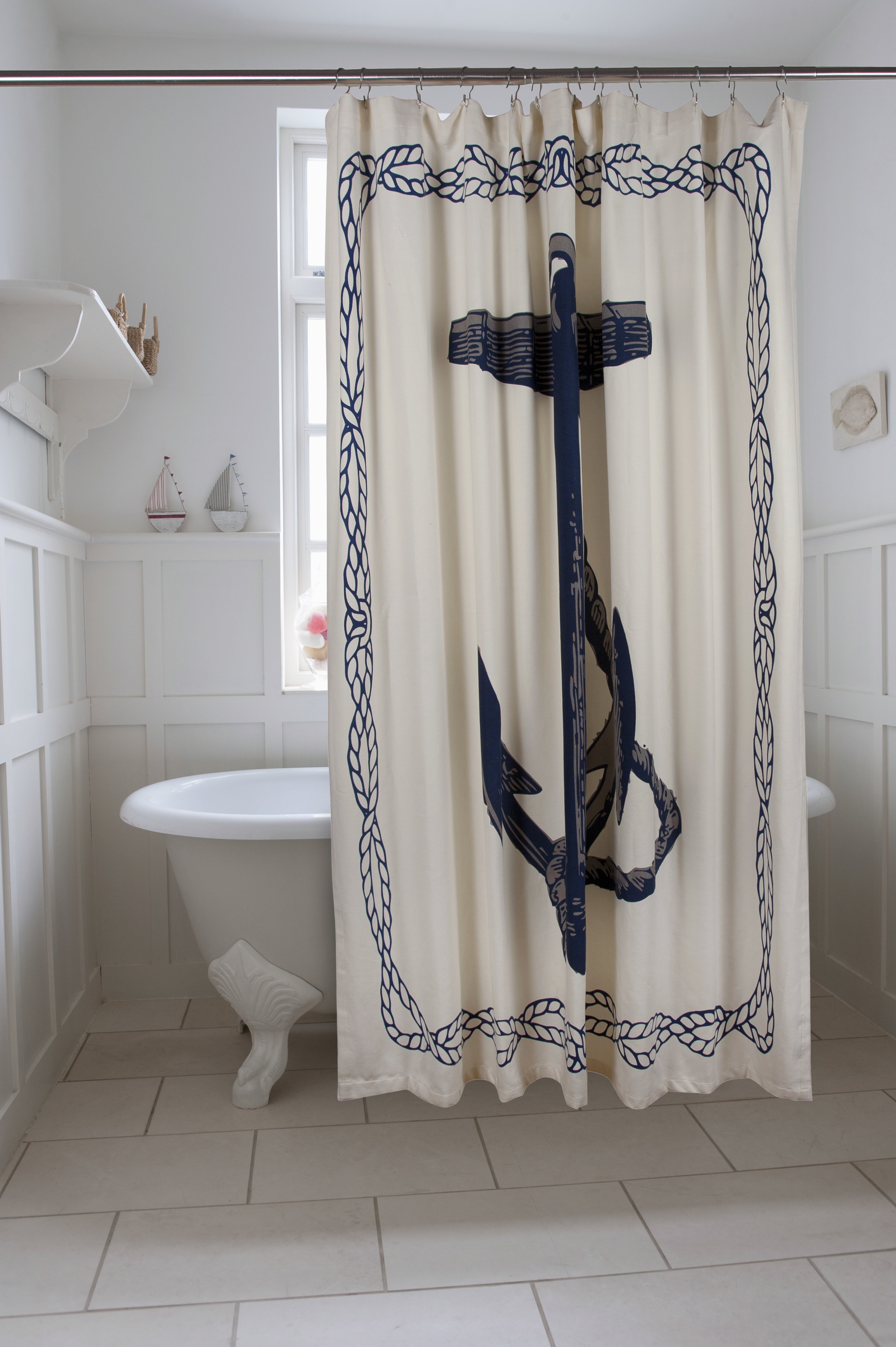 Bath Anchor Cotton Single Shower Curtain Reviews