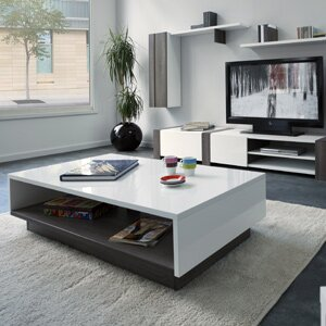 Contemporary, White Coffee Table In Minimal Living Room