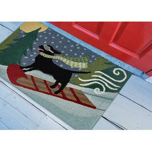 Stamper Toboggan Dog Hand-Tufted Blue/Green Indoor/Outdoor Area Rug