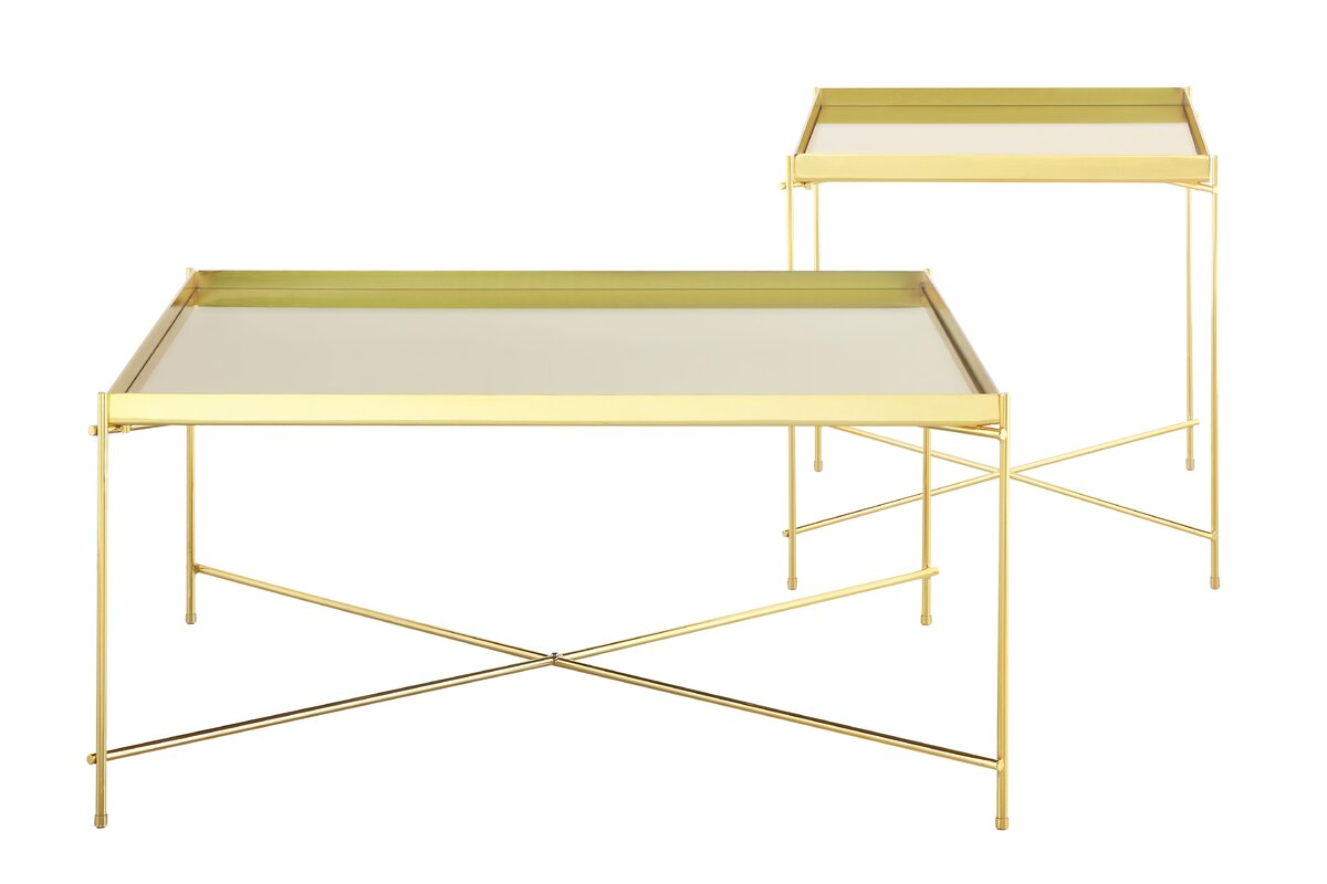 Gold Mirrored Top And Metal Base Haverhill Square Coffee Table Criss