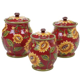 Sunflower 3 Piece Kitchen Canister Set