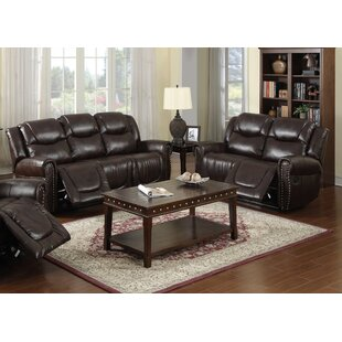 Marsh Island Reclining 2 Piece Leather Living Room Red Barrel Studio