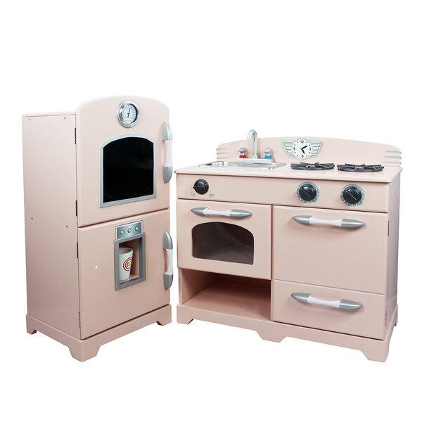 Pink Play Kitchen Set teamson kids 2 piece wooden play kitchen set & reviews | wayfair