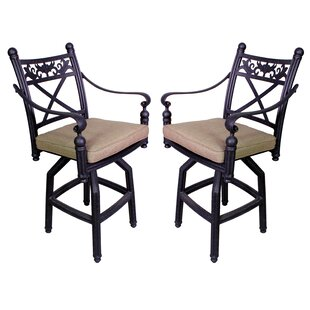 Check Out Baldwin 27.25 inch  Patio Bar Stool with Cushion (Set of 2) Price Check