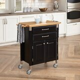 Hamilton Kitchen Cart with Wood Top by Charlton Home®