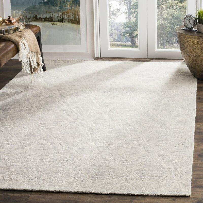 Foundstone Jon Geometric Handmade Flatweave Wool Silver Ivory Area Rug Reviews Wayfair
