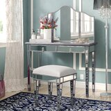Chauncey Solid Wood Vanity Set with Stool and Mirror by Willa Arlo Interiors
